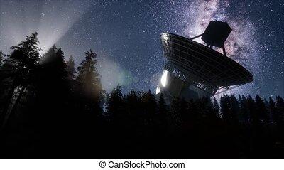 ciel, hyperlapse, sous, observatoire, astronomique, nuit, ...