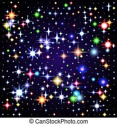 ciel, illustration, space., étoiles, nuit, briller
