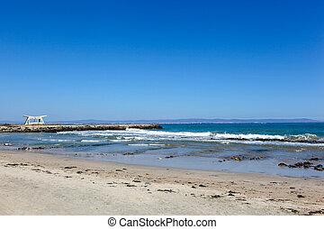 ciel, image, bleu, mer sable