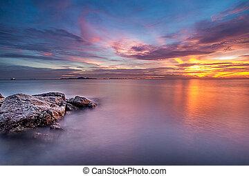 ciel, image, crépuscule, mer, exposition, temps, long
