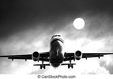 ciel, jet, avion ligne, contre, nuageux