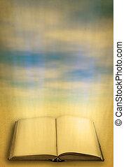 ciel, livre ouvert, contre, saint