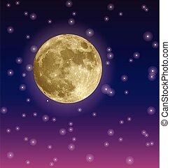 ciel, lune, grand, jaune, étoilé, vecteur, nuit
