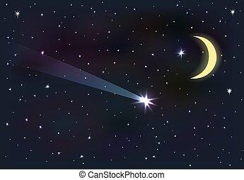ciel lune, stars., tomber, nuit, star.
