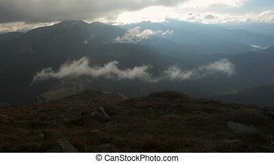 ciel, montagne, nuageux, crêtes, chornohora, paysage