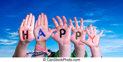 ciel, mot, mains, bleu, heureux, bâtiment, enfants