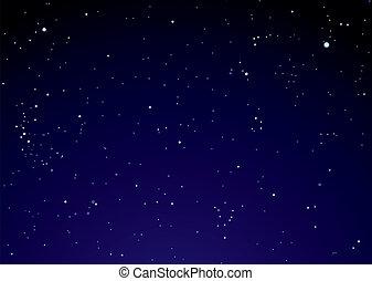 ciel, nuages, étoile, nuit