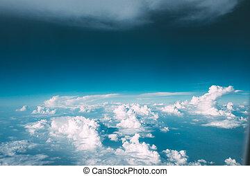 ciel, nuages, avion, bleu, vue., soleil