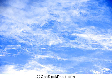 ciel, nuages blancs, beauté, paisible