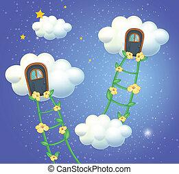 ciel, nuages, portes
