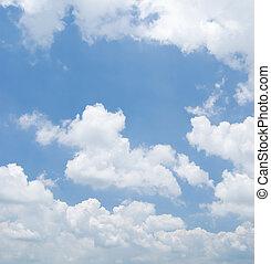 ciel nuageux, dans, jour ensoleillé