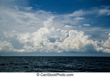 ciel, nuageux, mer
