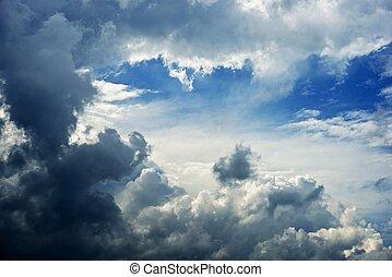 ciel, nuageux, orageux