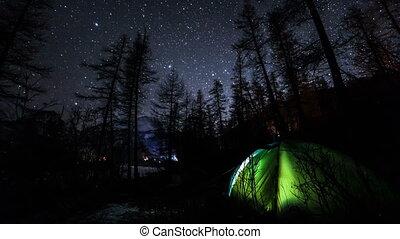 ciel nuit, forest., camping, timelapse