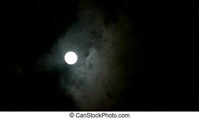 ciel nuit, lune, nuageux, entiers