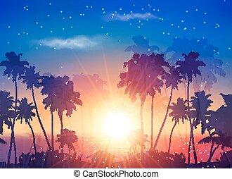 ciel, océan, sombre, silhouettes, vecteur, coucher soleil, paume