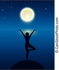 ciel, océan, yoga, personne, entiers, méditer, silhouette, lune, étoilé