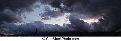 ciel orage, océan, panoramique, au-dessus, vue, avant