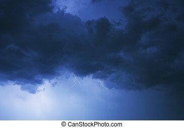 ciel, orageux, nuit