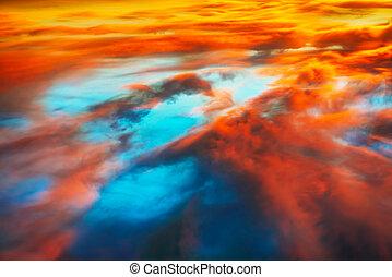ciel orange, coloré, dramatique, bleu