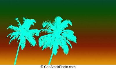 ciel, paumes, eau, couleur, style, deux, gradient, 80s