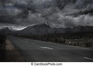 ciel, paysage, orageux