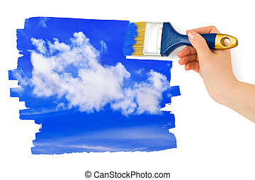 ciel, peinture, pinceau, main