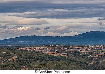 ciel, petit, nuageux, montagne, long, gamme, coup, village