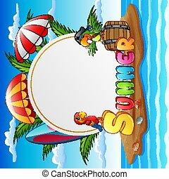 ciel, pirate, île, perroquet, plage, arrière-plan bleu