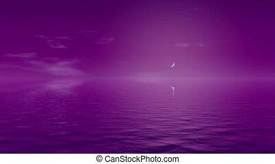 ciel pourpre, tonalité, eau, nuit