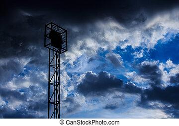 ciel, projecteur, nuageux