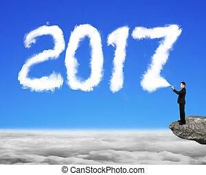 ciel, pulvérisation, forme, année, homme affaires, blanc, 2017, nuage