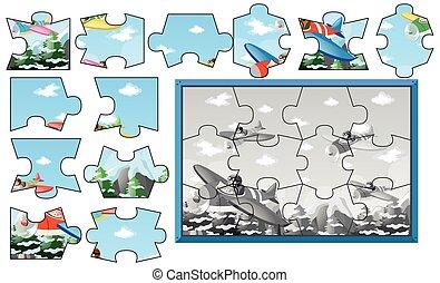 ciel, puzzle, avions, morceaux