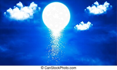 ciel, reflet, th, nuit