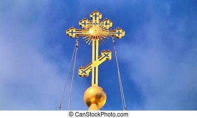 ciel, religieux, croix, loopable, fond