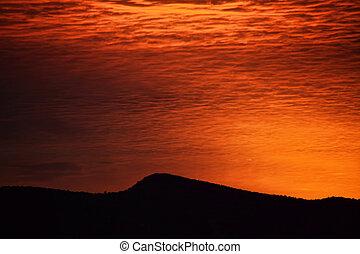 ciel rouge, à, matin