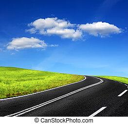 ciel, route, nuageux