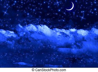 ciel, silencieux, nuit