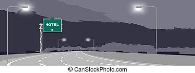 ciel sombre, hôtel, nuit, isolé, illustration, signe, autoroute, arrière-plan vert, signage, ou, autoroute
