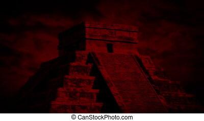 ciel, temple, aztèque, rouges