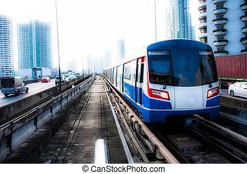 ciel, train, bangkok, thaïlande