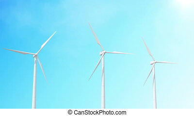 ciel, turbines, seamless, faire boucle, animation, bacground., vent, 3d
