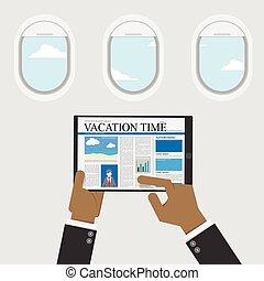 ciel, usage, contenu, vue, tablette, voyage, vecteur, temps, numérique, lecture, fenêtre, conception, information, homme affaires, illustration, sur, vacances, plat, arrière-plan.