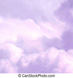 ciel, vecteur, clouds., rose, blanc