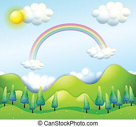 ciel vert, collines, coloré, au-dessus