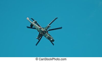 ciel, vert, militaire, coloration, combat, hélicoptère...