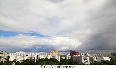 ciel, ville, nuages, sur