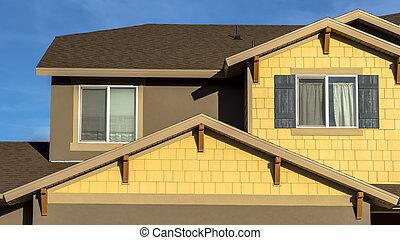 ciel, vue, contre, extérieur, garage, allée, maison, cadre, panorama, bleu