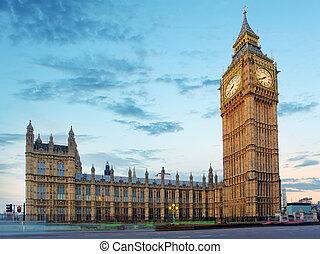 cielna ben, i, domy parlamentu, na, wieczorny, londyn, uk