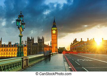 cielna ben, na, zachód słońca, londyn